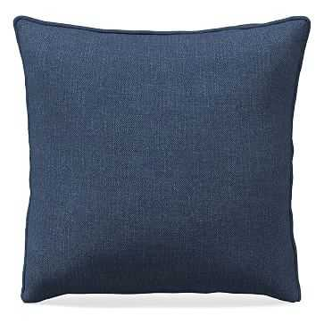 """18""""x 18"""" Welt Seam Pillow, Performance Yarn Dyed Linen Weave, French Blue - West Elm"""