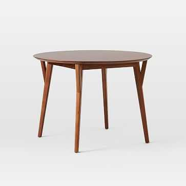 """Mid-Century Expandable Dining Table, Round, 42-60"""", Walnut - West Elm"""