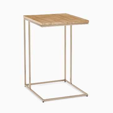 Streamline C-Side Table, Whitewash, Light Bronze - West Elm
