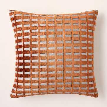 """Cut Velvet Archways Pillow Cover, 20""""x20"""", Copper, Set of 2 - West Elm"""