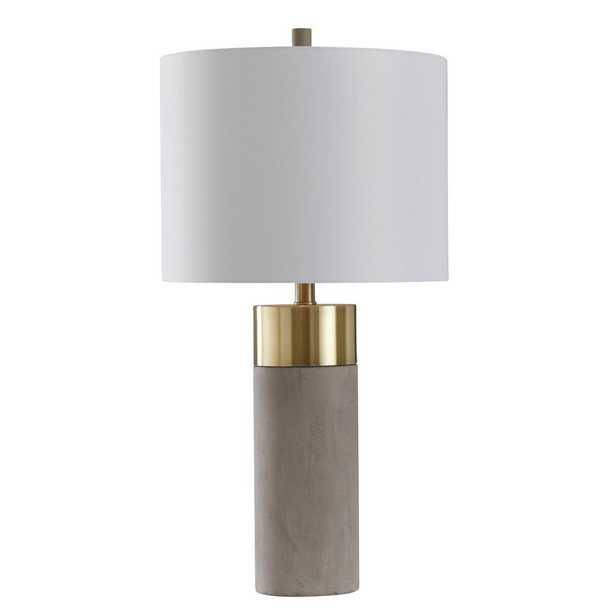 StyleCraft 27.75 in. Soft Brass/Natural Concrete Table Lamp with Brussels White Hardback Fabric Shade - Home Depot