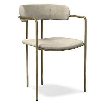 Lenox Dining Chair, Distressed Velvet, Light Taupe, Blackened Brass - West Elm