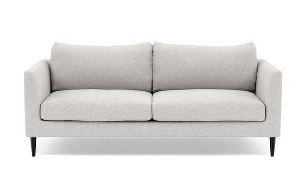 Owens Loveseats with Beige Pebble Fabric, down alternative cushions, and Unfinished GunMetal legs - Interior Define