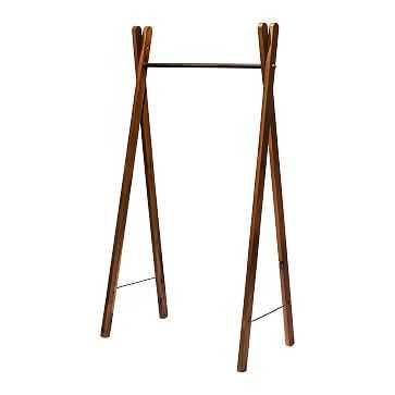 Teak Garment Rack, Natural, Steel - West Elm