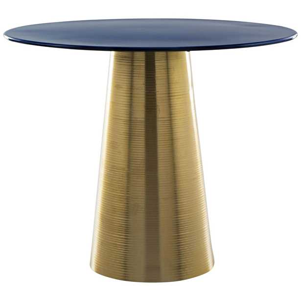 """Zuo Reo 20"""" Wide Dark Blue and Gold Side Table - Style # 83J26 - Lamps Plus"""