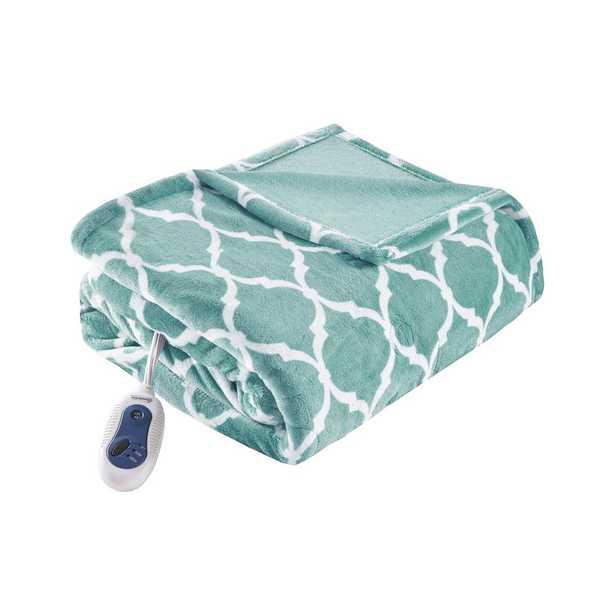 """Beautyrest Heated Ogee Aqua 60"""" x 70"""" Throw, Blue - Home Depot"""
