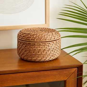 Modern Weave Basket, Round Lidded, Small, Natural - West Elm