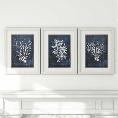 Wood Coral - 3 Piece Picture Frame Graphic Art Print Set on Paper - Wayfair