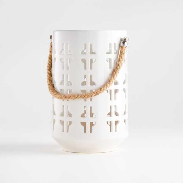 Calas Small White Ceramic Lantern - Crate and Barrel