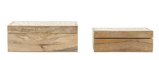 Handcarved & Whitewashed Mango Wood Boxes (Set of 2 Sizes) - Nomad Home