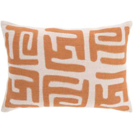 "Nairobi Lumbar Pillow Cover, 19"" x 13"", Orange & Cream - Neva Home"