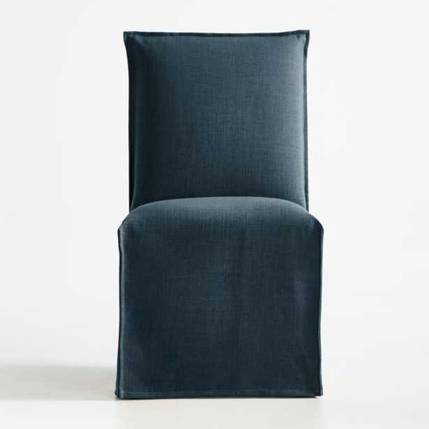 Addison Navy Slipcovered Dining Chair - Crate and Barrel