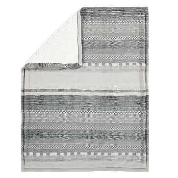 Cozy Pattern Stripe Baby Blanket, Gray - West Elm