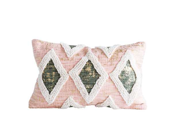 """Lumbar Pillow with Thick Embroidered Design, Salmon Cotton, 21"""" x 13"""" - Moss & Wilder"""