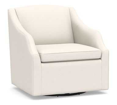 SoMa Emma Upholstered Swivel Armchair, Polyester Wrapped Cushions, Performance Chateau Basketweave Ivory - Pottery Barn