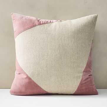 "Cotton Linen + Velvet Corners Pillow Cover, Set of 2, Pink Stone, 24""x24"" - West Elm"