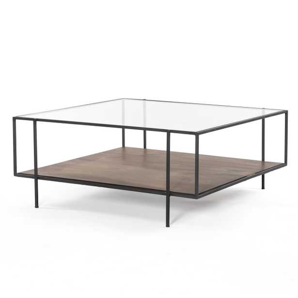 Camron Industrial Loft Brown Mango Wood Glass Metal Coffee Table - Small - Kathy Kuo Home