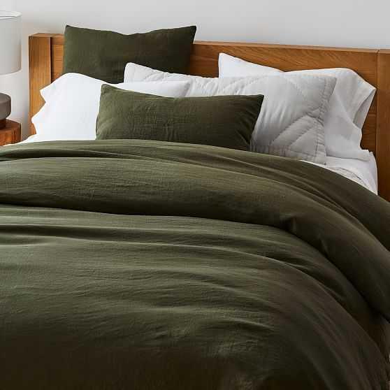 European Flax Linen Duvet, King Set, Dark Olive - West Elm