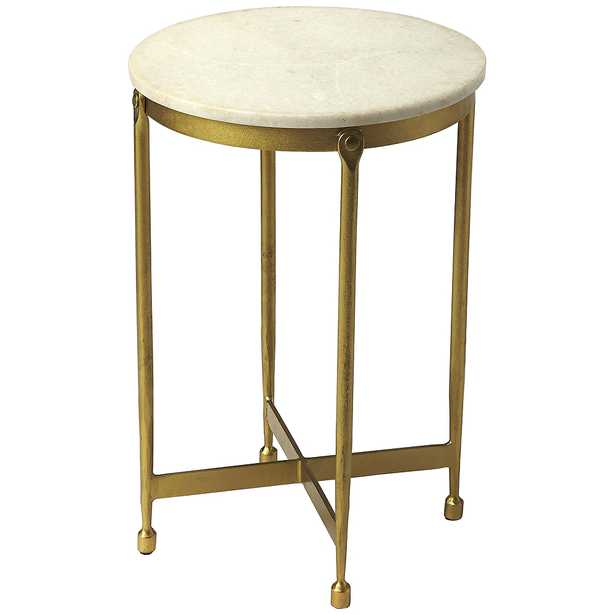 """Butler Claypool 13 1/2""""W Antique Brass and Marble End Table - Style # 77J83 - Lamps Plus"""