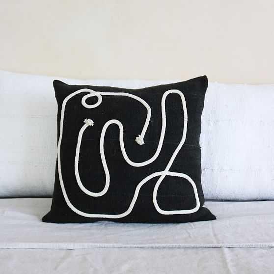 Kaiyo Linework Lumbar Pillow,Black + Cream - West Elm