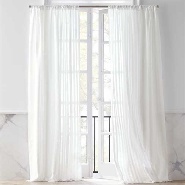 "Track White Striped Curtain Panel 48""x96"" - CB2"