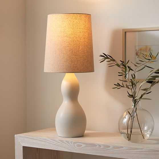 """Modern Gourd Table Lamp, 29.5"""", White & Natural Linen - West Elm"""
