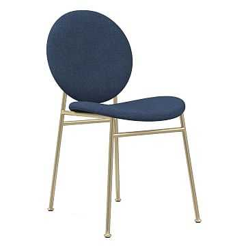 Ingrid Dining Chair, Performance Yarn Dyed Linen Weave, French Blue, Light Bronze - West Elm