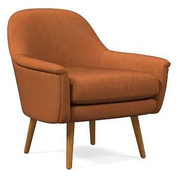 Phoebe Midcentury Chair, Poly, Vegan Leather, Saddle, Pecan - West Elm