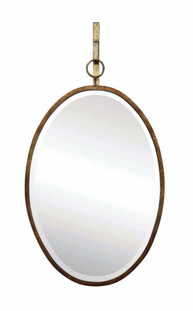 Oval Wall Mirror with Distressed Metal Frame & Hanging Bracket (Set of 2 Pieces) - Nomad Home