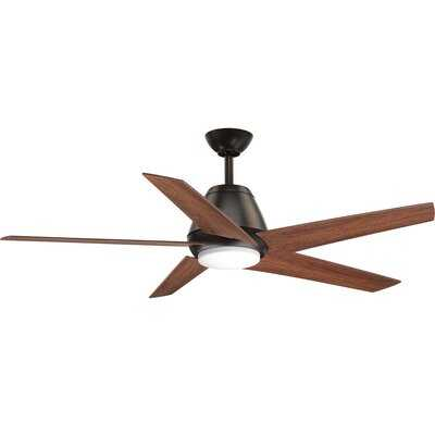 """54"""" Grigsby 5 - Blade LED Standard Ceiling Fan with Remote Control and Light Kit Included - AllModern"""