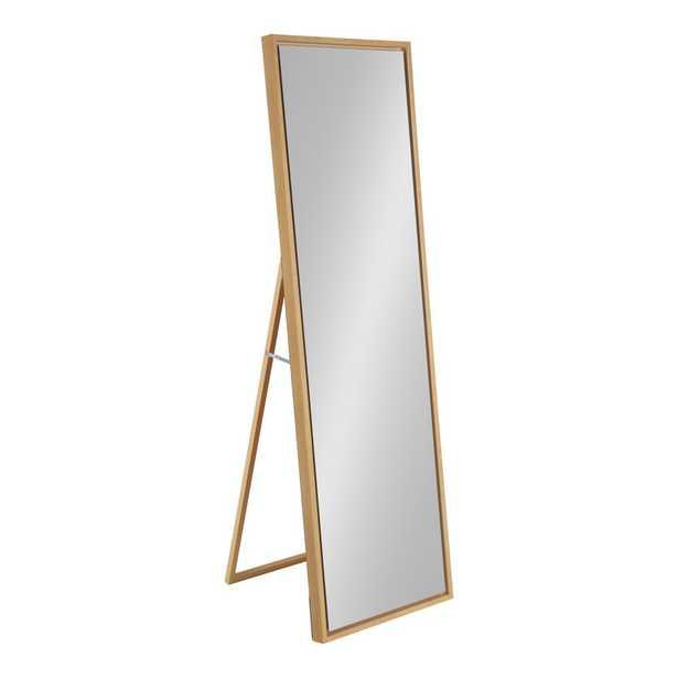 Kate and Laurel Evans 58 in. x 18 in. Modern Natural Brown Framed Easel Floor Mirror - Home Depot
