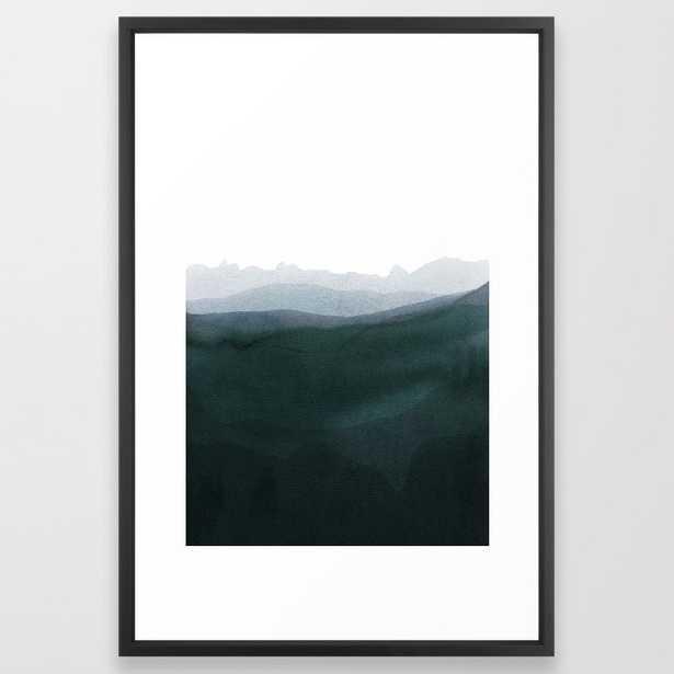 Mountain Horizon 3 Framed Art Print by Iris Lehnhardt - Vector Black - LARGE (Gallery)-26x38 - Society6