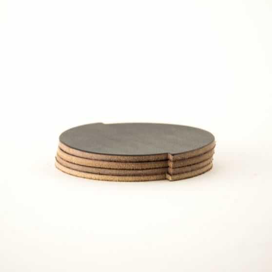 Split Circle Leather Coasters, Set of 4, Dark Brown - West Elm