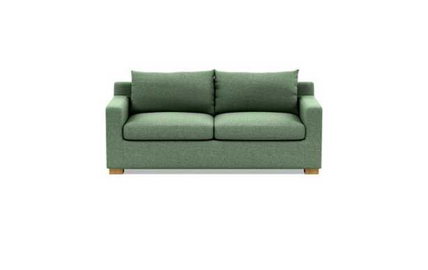 Sloan Sleeper Sleeper Sofa with Green Forest Fabric, double down blend cushions, and Natural Oak legs - Interior Define
