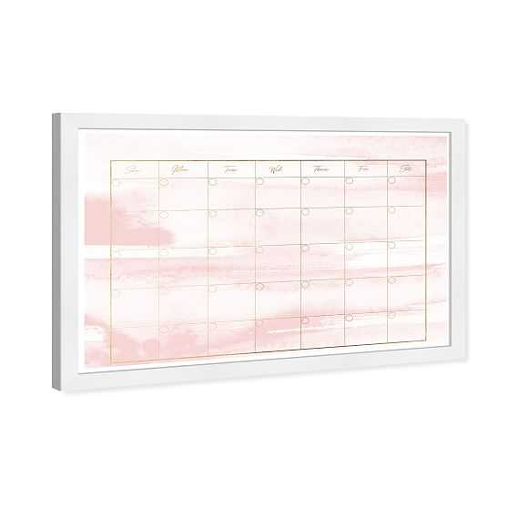 Watercolor Blush Calendar Dry Erase Board, Wall Art, 18x26x0.5 - West Elm