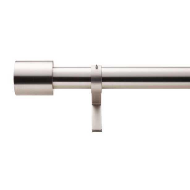 "Brushed Nickel Cap Finial Curtain Rod Set 48""-88""x1.25""Dia. - CB2"