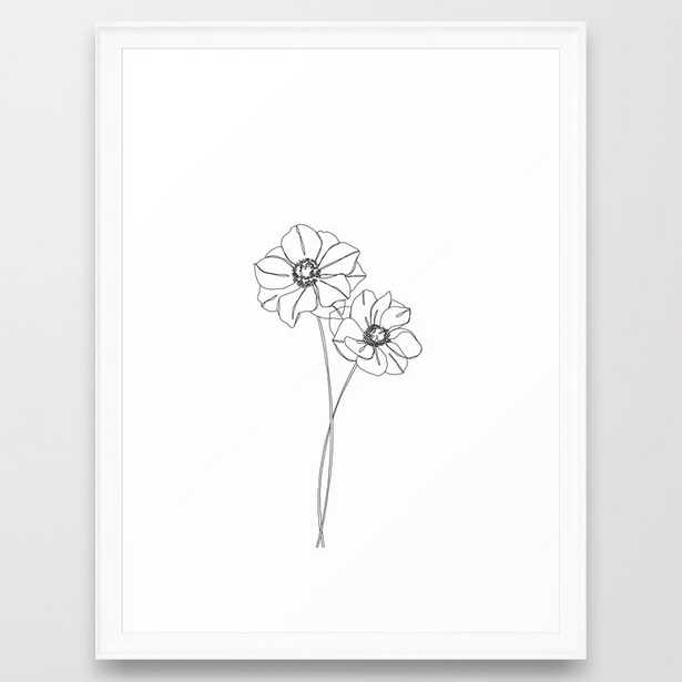 Botanical Illustration Line Drawing - Anemones Framed Art Print by The Colour Study - Scoop White - MEDIUM (Gallery)-20x26 - Society6