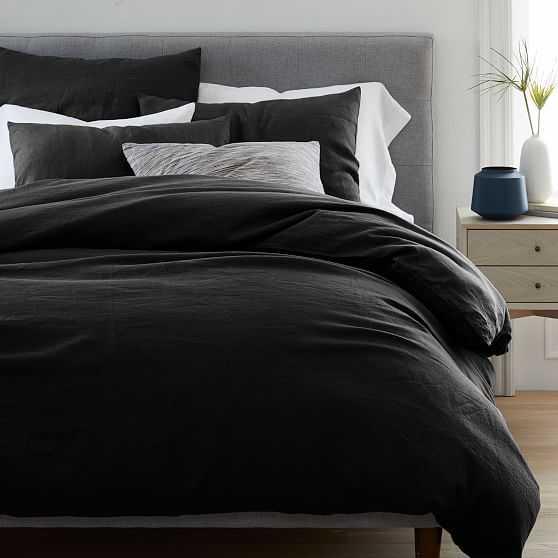 European Flax Linen Duvet Cover, King Duvet + 2 Sham Set, Black - West Elm