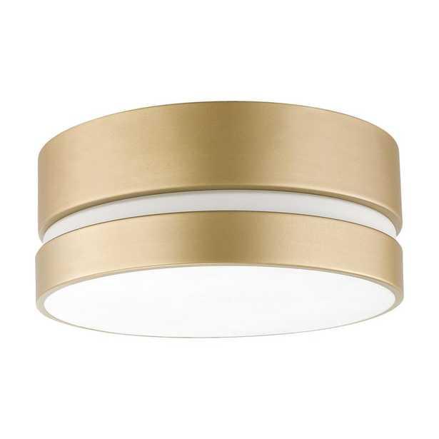 Novogratz x Globe Electric 2-Light Soft Gold Flush Mount Ceiling Light with Inner Frosted Shade - Home Depot