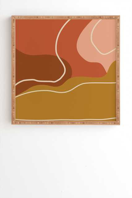 """Abstract Organic Shapes In Zen by June Journal - Framed Wall Art Bamboo 30"""" x 30"""" - Wander Print Co."""