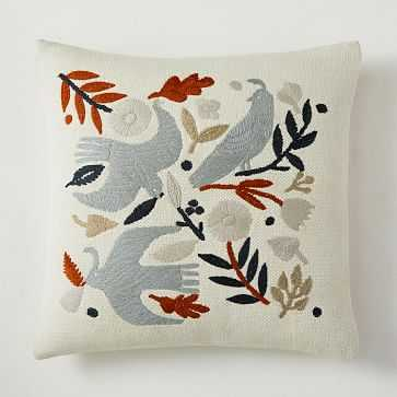 """Embroidered Birds Pillow Cover, 18""""x18"""", Alabaster - West Elm"""