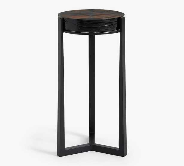 Cori Glass Round Accent Table, Recycled Amber Glass & Black Base - Pottery Barn