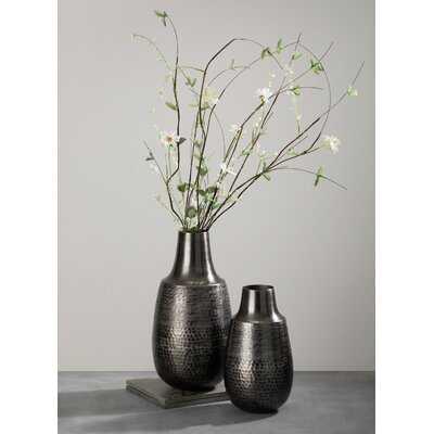 2 Piece Black Metal Table Vase Set - Wayfair