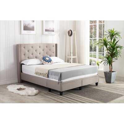 Reinaldo Studded Winged Queen Upholstered Storage Sleigh Bed - Wayfair