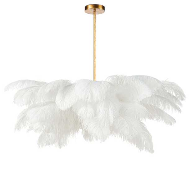 Regina Andrew Josephine Modern Classic White Feather Gold Leaf Steel Chandelier - Kathy Kuo Home