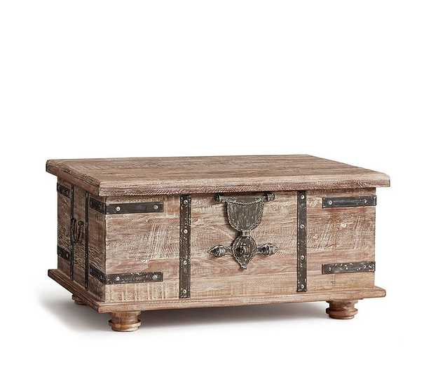 "Kaplan Reclaimed Wood Lift-Top Trunk Coffee Table, Dusty Safari, 36"" - Pottery Barn"