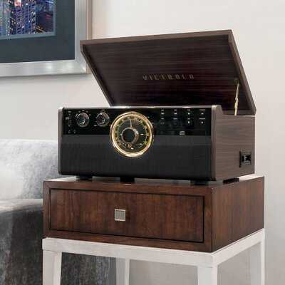 6-in-1 Wood Empire Bluetooth Record Player with 3-Speed Turntable - Birch Lane