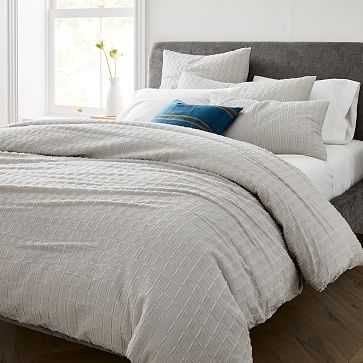 Clipped Jacquard Squares Duvet, Full/Queen, Frost Gray - West Elm