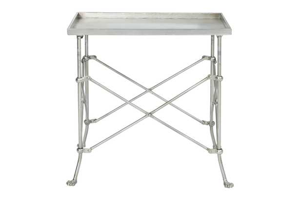 """Rectangle 20"""" Tray-Style Metal Accent Table - Nomad Home"""