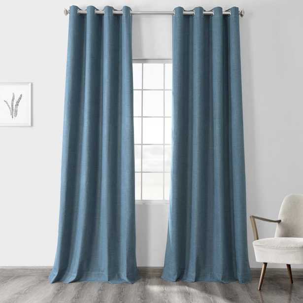 Exclusive Fabrics & Furnishings Ovation Blue Vintage Thermal Cross Linen Weave Max Blackout Grommet Curtain - 50 in. W x 84 in. L (1 Panel) - Home Depot